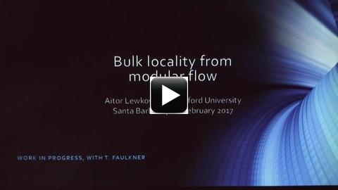 Aitor Lewkowycz, Stanford University, Bulk locality from modular flow