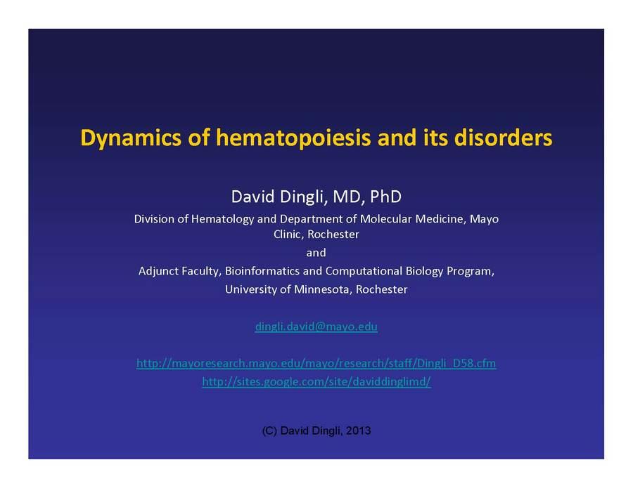 David Dingli, Mayo Clinic & KITP 01